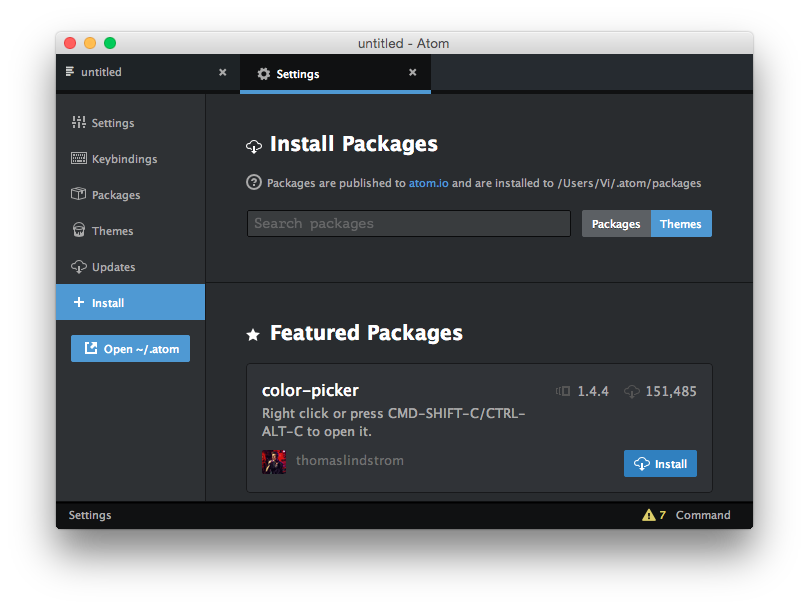 Install atom packages